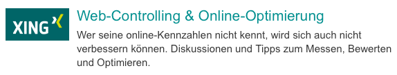XING Gruppe: Web-Controlling & Online-Optimierung