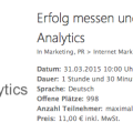 Webinar Erfolg messen und steuern mit Google Analytics