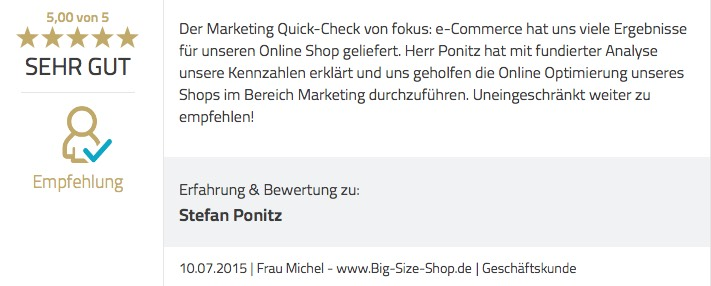 Marekting Quick Check Top Bewertung
